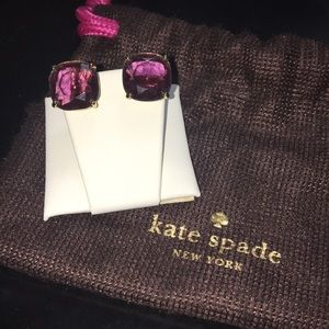 kate spade Jewelry - Kate Spade Purple Square Stud Earrings